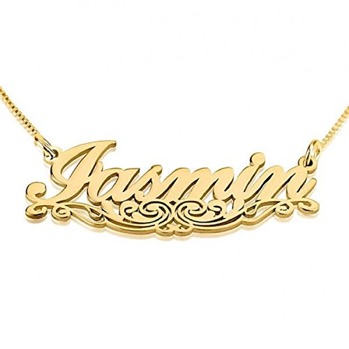 Personalized Custom 24k Gold Plated Name Necklace with Underlining Jewelry (18)