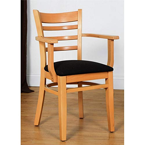 Mountain Woods Natural Wood - Beechwood Mountain BSD-5A-N Solid Beech Wood Arm Chair in Natural for Kitchen & Dining, NA