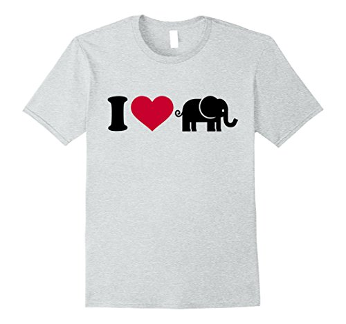 - Mens I love elephants T-Shirt Large Heather Grey