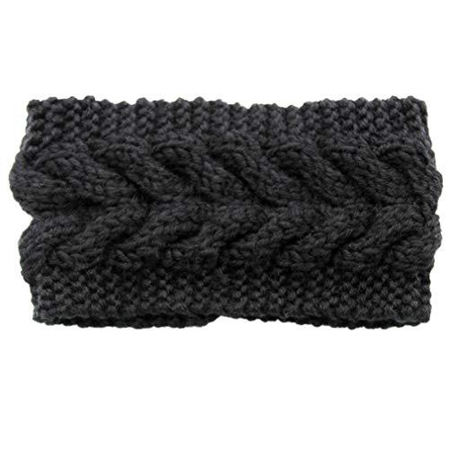 Winter Wool Twist Headband Knit Crochet Ear Warmers for Women,Hair Band Ear Muffs (black)
