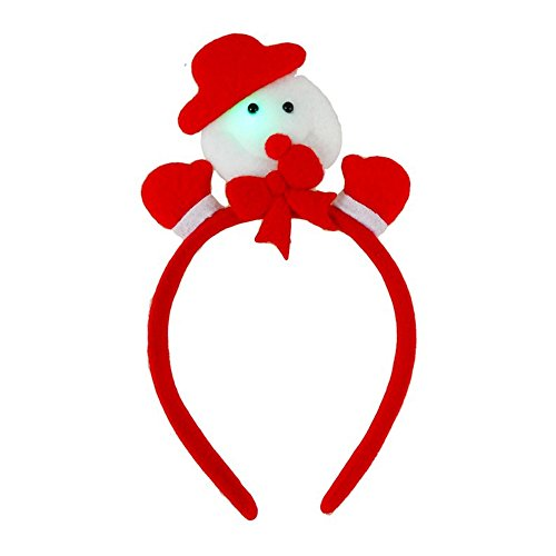 Girls Christmas Padded Felt Flashing Snowman Motif Alice Hair Band Headband