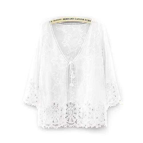 カーディガン レディース 薄手 7分袖 カーディガン 水着 羽織り かわいい 花柄 刺繍 ガウン アウター 日焼け 冷房対策