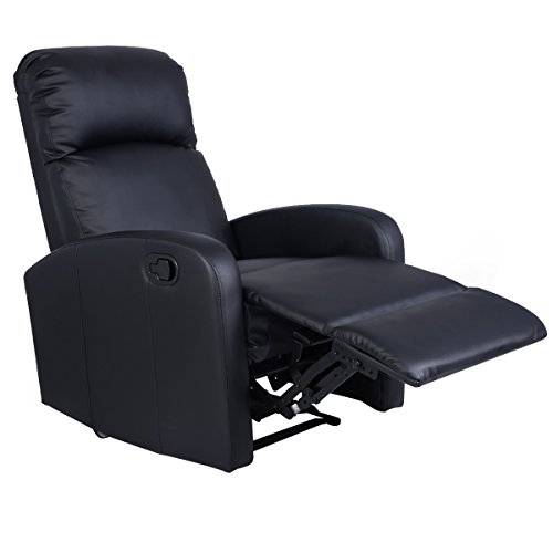 Giantex Manual Recliner Chair Black Lounger Leather Sofa (Large Image)