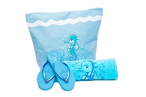 Bolsa de Playa Para Mujer + Toalla de Playa + Chanclas 3 Piezas Caballo de Mar Airee Fairee (EU 38-39, Rosa claro) Azul claro