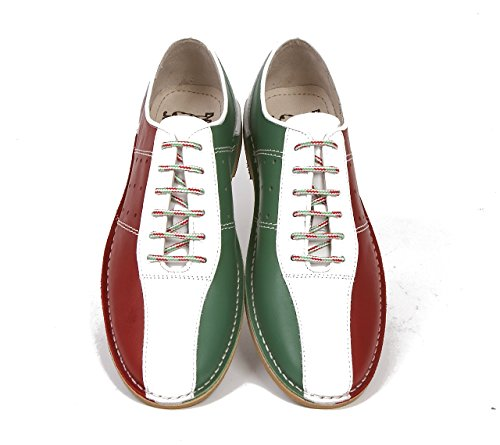 Delicious Junction Watts Leather Bowling Shoe by Green, White &Amp; Red