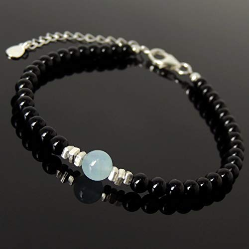 Men and Women Bracelet Handmade with 6mm Natural Aquamarine, 4mm Bright Black Onyx and Genuine 925 Sterling Silver Beads, Clasp with Link, FREE Gift Box