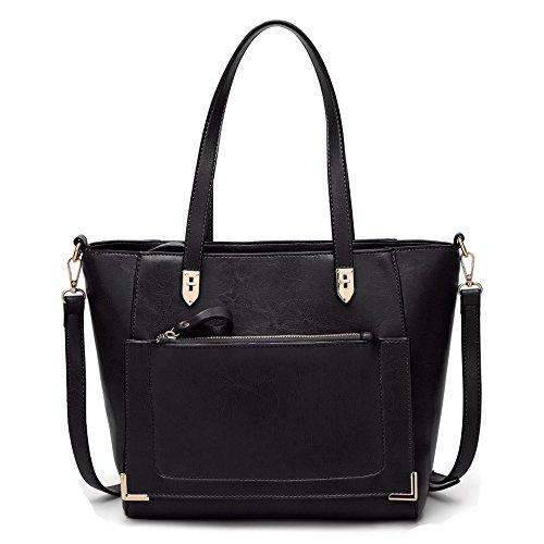 Handbags Shoulder Black Bag Handle Tote Satchel Messenger Hobo Top Bag Obosoyo Women Purse fqZIzWY