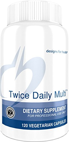 Designs for Health - Twice Daily Multi - 120 Capsules, Iron Free Multivitamin with Active Folate + Chelated Minerals by designs for health