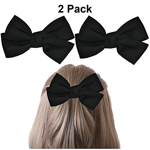 (Bow Hair Clips Bowknot Barrette Headband Hairband Christmas Women Girls Kids Headdress Headwear Headpiece Party Decoration Cosplay Costume Hair Bands Cute Handmade Hair Accessories 2 Pack Black)