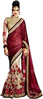 Sarees (Women's Clothing Lycra Sarees For Women Latest Design Wear Sarees New Collection in Maroon lycra & cream net Latest Saree With Designer Blouse Free Size Beautiful Saree For Women Party Wear Offer Designer Sarees With Blouse Piece)