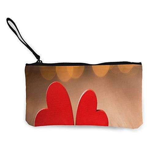 (Coin Purse Lovely Heart Teen Girls Zipper Canvas Small Purse TravelGreat Bag)