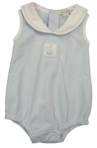 Kissy Kissy Baby-Boys Infant Sailor's Delight Stripe Bubble With Collar-White With Blue-3-6 Months