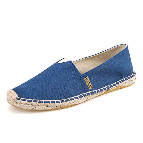 Alexis Leroy Men's Original Classic Stripe Canvas Flat Espadrilles Dark Blue