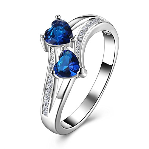 (Lunule India Style Silver Plated Heart Shaped Blue Cubic Zirconia CZ Solitaire Ring Women Size 6-9)