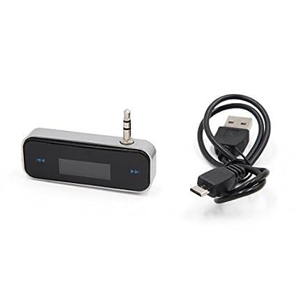 eDealMax Negro sin hilos del coche adaptador DE 3,5 mm Radio FM modulador del