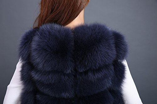 Lovingbeauty Long Navy Blue Vest Women Fox Fur Winter Gilet Outerwear Waistcoats (XXL) by Lovingbeauty (Image #3)