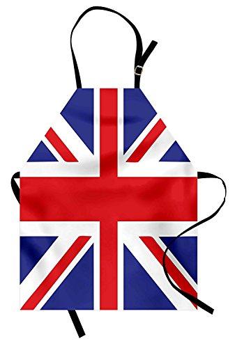pron, Classic Traditional Flag United Kingdom Modern British Loyalty Symbol, Unisex Kitchen Bib Apron with Adjustable Neck for Cooking Baking Gardening, Royal Blue Red White ()