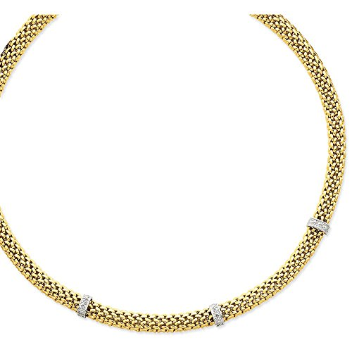 Solid 14k Gold Two-Tone 17in .05ct Completed Polished Diamond & Mesh Necklace Chain (Diamond Mesh Necklace)