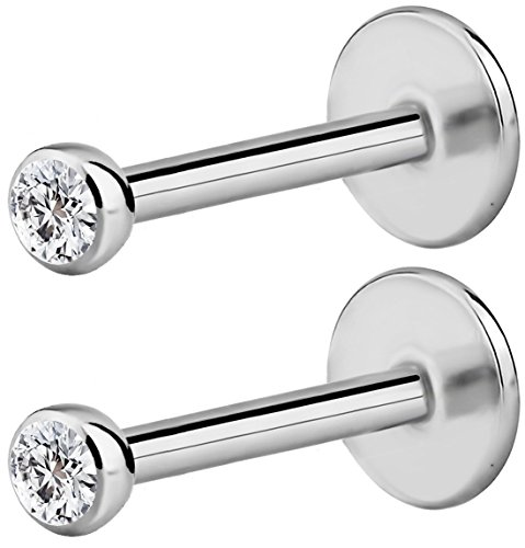 2-Pack: 18G 8mm Surgical Steel Internally Threaded Micro CZ Gem Top Tragus/Helix/Labret Stud with 2mm (Threaded Steel Labret)