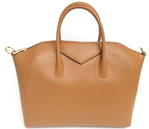 cognac Italy Made in Smooth Handbag Women's SUPERFLYBAGS model Genuine Rebecca Leather wg4FxWScq