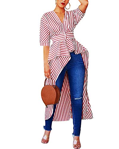 Women Stripe Print Short Sleeve Short Slevee High Low Asymmetrical Button Down Shirt Blouse Top Red
