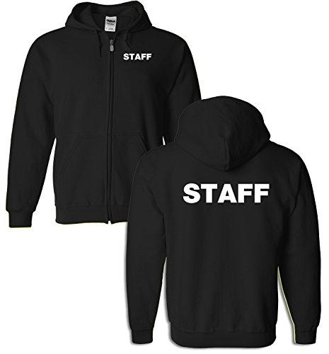 Staff Full Zip Hoodie Silkscreen Front & Back 13613 (Medium, Black)