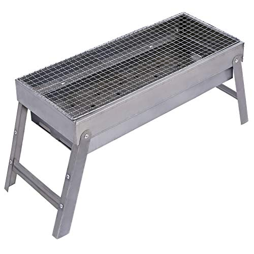 REDCAMP Charcoal Outdoor Barbecue Grill with Grate, Medium Folding Portable Steel BBQ Grill for Camping