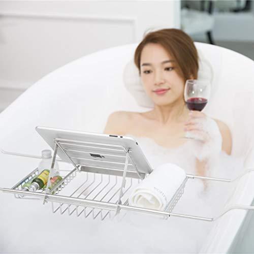 ZhaoLiRuShop Bathtub Trays Bath Caddy Bath Tray Bath Board Waterproof Non-Slip Stainless Steel Bathtub Frame Telescopic Hotel Multi-Function Bathtub Bracket (Color : Silver, Size : 63.5-9820cm) by ZhaoLiRuShop (Image #2)