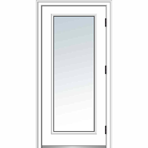 National Door ZA364628L Fiberglass Smooth, Primed, Left Hand Outswing, Prehung Door, Full Lite, Clear Glass, 36