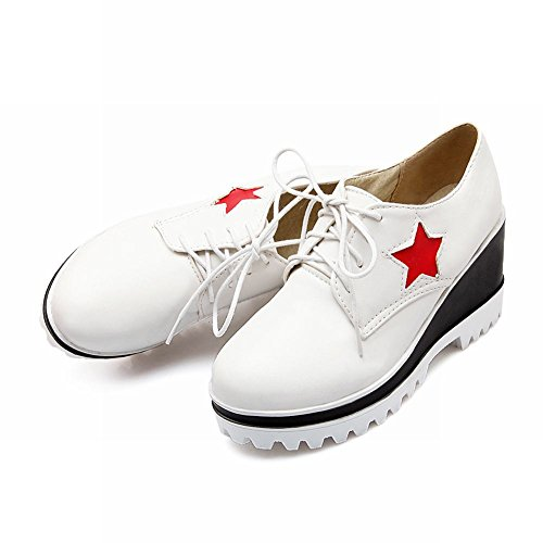Latasa Femmes Mode Étoile Plate-forme À Lacets Haute Wedge Chaussures Oxford Blanc