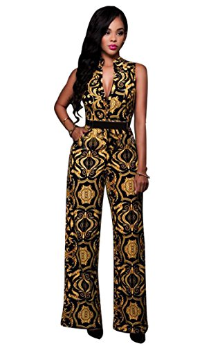 Women's Floral Plunge Belted Wide Leg Long Jumpsuits Rompers M