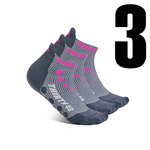 Thirty 48 Compression Low-Cut Running Socks for Men and Women (Small - Women 5-6.5 // Men 6-7.5, [3 Pairs] Pink/Gray) by Thirty 48 (Image #1)