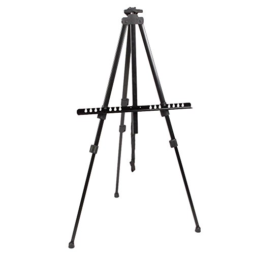 Azadx Folding Easel, Student Artist Drawing Sketching Painting Easel, Portable Iron Stand for Displaying Artwork, Art Display Tripod Light Weight With Carry Bag, Black by Azadx