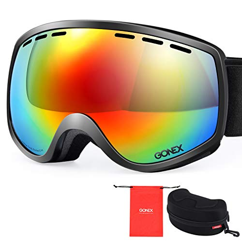 Gonex Ski Snow Goggles Anti-fog Windproof UV400 Protection with Double Spherical Lens with Goggle Case, Black, Small