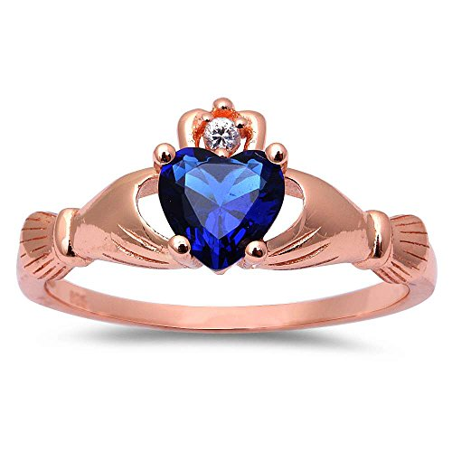 (Oxford Diamond Co Rose Gold Plated Simulated Blue Sapphire Cubic Zirconia Claddagh .925 Sterling Silver Ring Sizes 6)