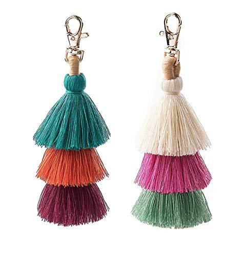 2 Pieces Colorful Bohemian Tassel Bag Charm Keychain Handbag Pendant(11)