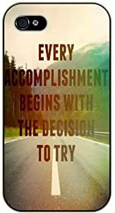 "iPhone 6 (4.7"") Every accomplishment begins with a decision to try - black plastic case / Life, dreamer's inspirational and motivational quotes hjbrhga1544"