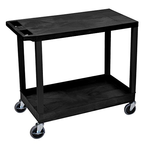 LUXOR EC21-B Cart with 1 Tub Shelf with 1 Flat Shelf, 18