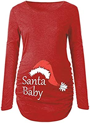 Women/'s Christmas Side Ruched Long Sleeve Blouse Maternity Top Pregnancy Clothes