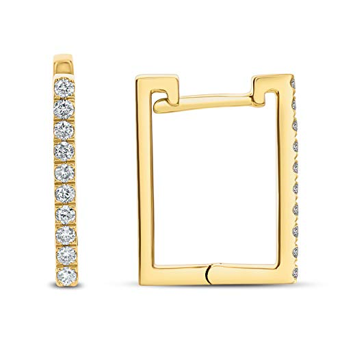 DC DIAMOND COUTURE 14KY 0.20CT DIAMOND SQUARE HOOP EARRINGS, I-J color, I1-I2 Clarity