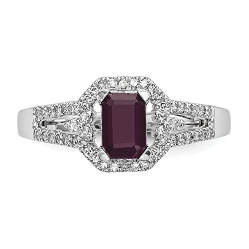 ICE CARATS 14k White Gold Diamond Red Ruby Band Ring Size 7.00 Gemstone Fine Jewelry Gift Set For Women Heart by ICE CARATS (Image #4)