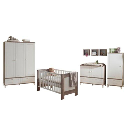 Komplett Babyzimmer in Wildeiche - matt weiß Wickelkommode Babybett Kinderzimmer