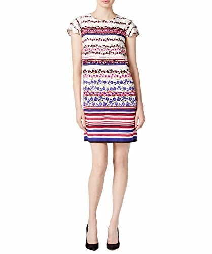 kensie Women's Printed Mock Neck Shift Dress (Bone Combo, XL) - Kensie Girl Printed