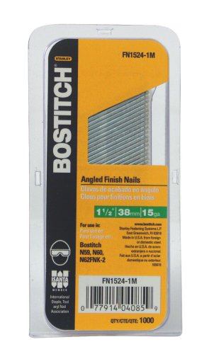 BOSTITCH FN1524-1M 1-1/2-Inch 15-Gauge FN Style Angled Finish Nails,