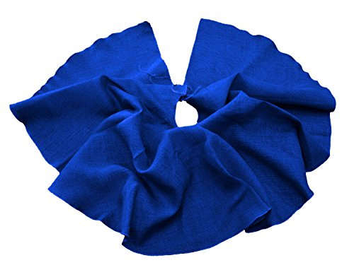 Royal Blue Tree Skirt - LA Linen Round Burlap Tree Skirt Christmas Tree Decor, 60