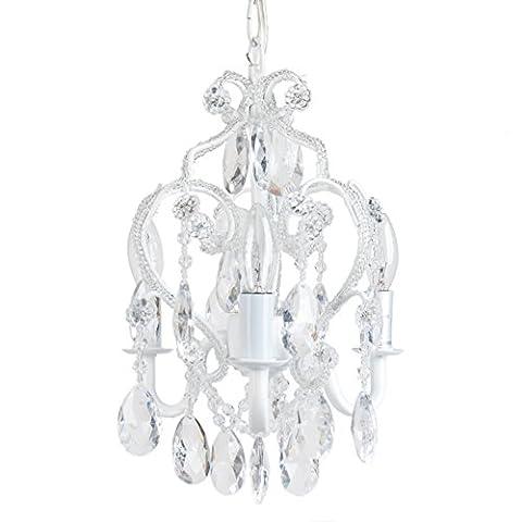 Tadpoles Three Bulb Chandelier, White Diamond - Elegance Ceiling Light