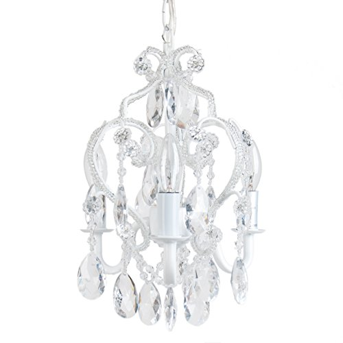 Tadpoles 3-Bulb Vintage Plug-In or Hardwired Mini-Chandelier, White Diamond