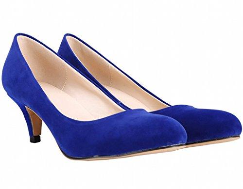 On Pumps Pointed Women's Heel Toe blue Closed Dress Kitten Slip velveteen Mid fITwA7nTq
