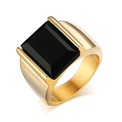 Aooaz Boys Mens 18K Gold Plated Ring, Retro Square Black Agate Signet Rings, Vintage Wedding Band Size 10
