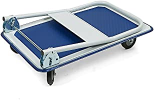 56940a46757d Mind Reader PLATROLL-WHT Foldable Push Cart Pallet Roller Dolly with ...